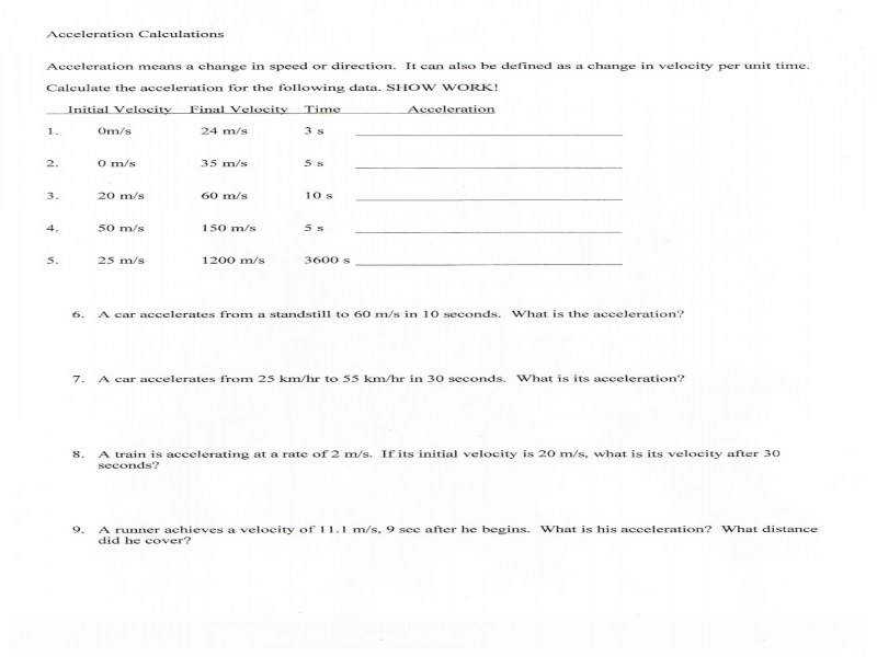 Ms Friedman s Foundations In Science Velocity acceleration Worksheet