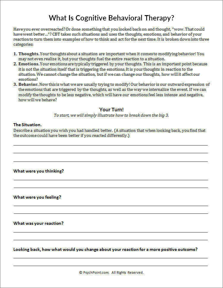 What Is Cognitive Behavioral Therapy Worksheet