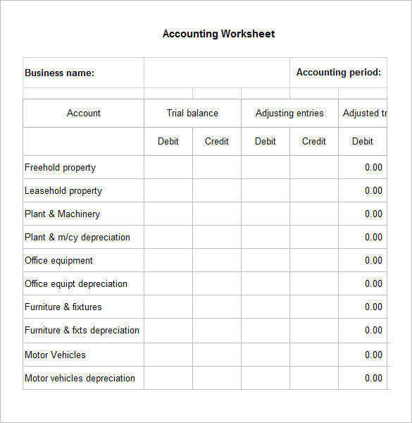 Free Acounting Worksheet Template