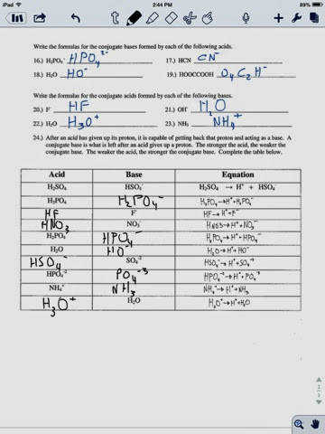 Br¸nsted Lowry acid base worksheet