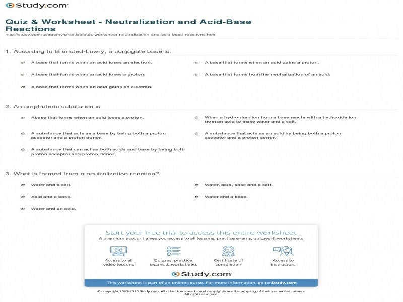 Quiz & Worksheet – Neutralization And Acid Base Reactions