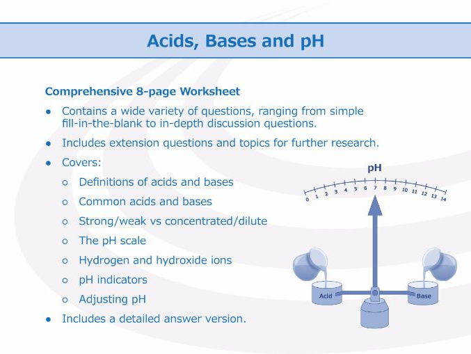 Acids Bases and pH Worksheet by GoodScienceWorksheets Teaching Resources Tes