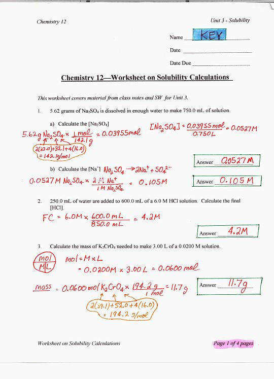 SOLUBILITY CALCULATIONS WORKSHEET KEYp1 p2