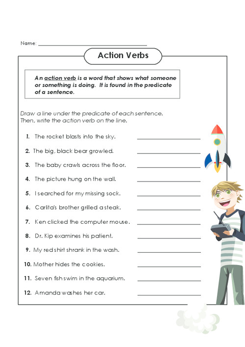 Locate both the predicate and the action verb in these sentences