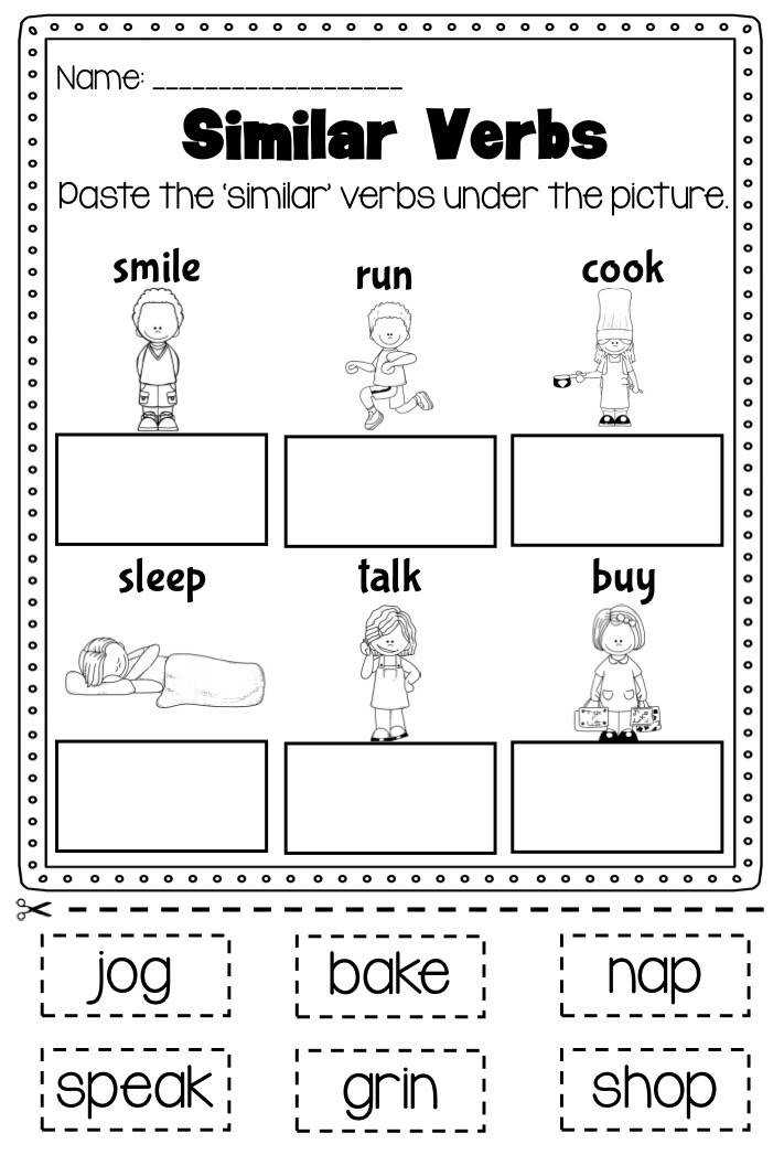 Verb Printable Worksheet Differentiating between nouns and verbs The pack covers action verbs