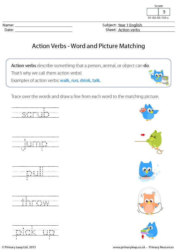 Action Verbs Word and Picture Matching 3