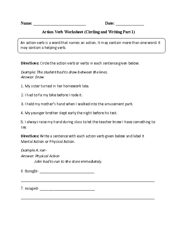 Circling and Writing Action Verb Worksheet