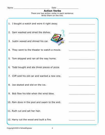 Free Worksheets Grammar Action Verbs 04