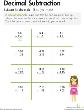 Subtraction subtraction worksheets for 4th grade Dizzy Over Decimals 4th Grade Worksheets