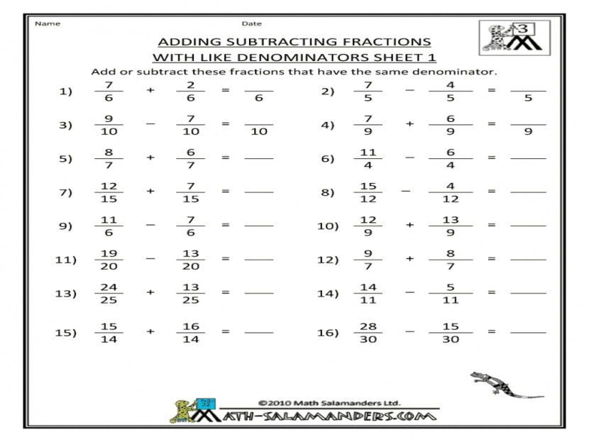 Adding Subtracting Fractions With Like Denominators Sheet 1 3rd Different Worksheet Ks2 Nzg4nzayl