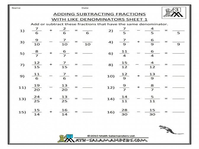 Adding Subtracting Fractions With Like Denominators Sheet 1 3rd And Unlike Worksheets Free Nzg4nzayl Adding And