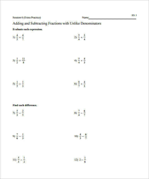 Subtracting Fractions with Unlike Denominators A Fractions Worksheet