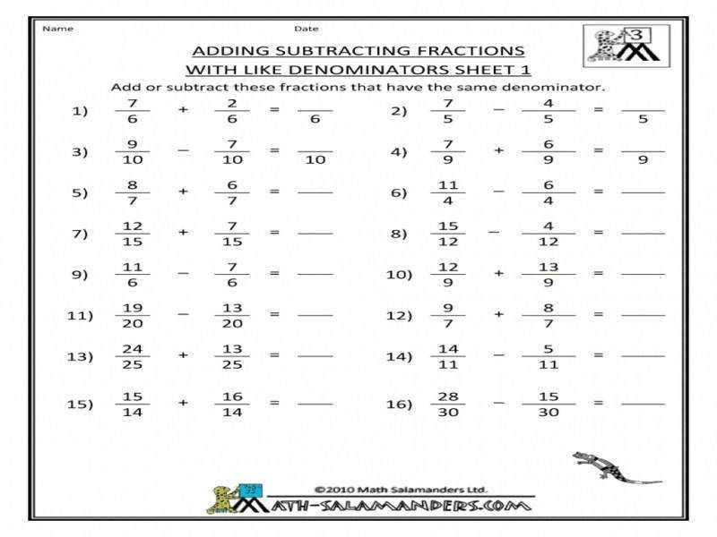 Adding Simple Fractions Worksheets Worksheets