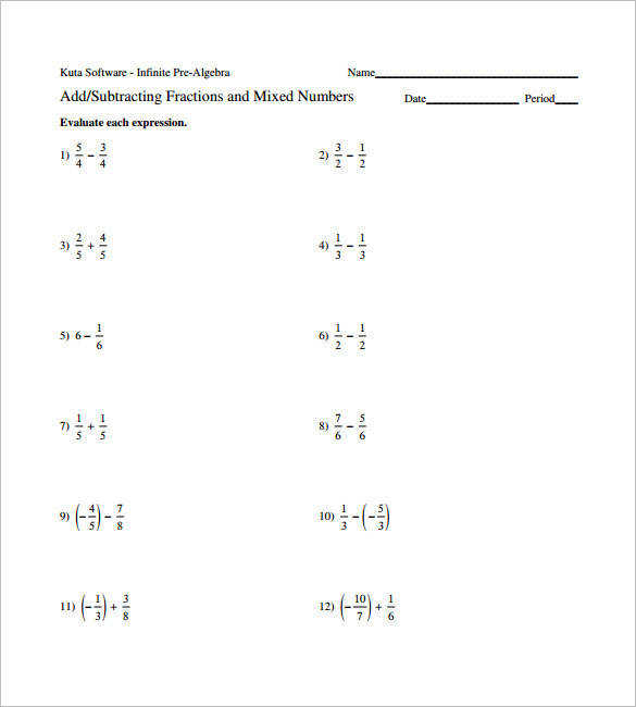 Adding Subtracting Fractions Worksheet Examples