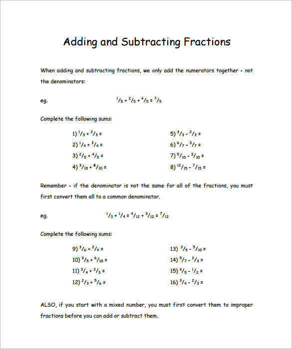 Adding And Subtracting Fractions Worksheets 4Th Grade