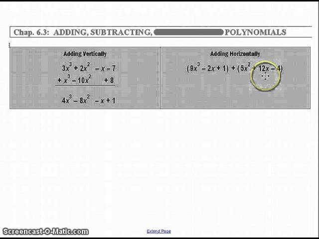 Adding & Subtracting Polynomials Algebra 2