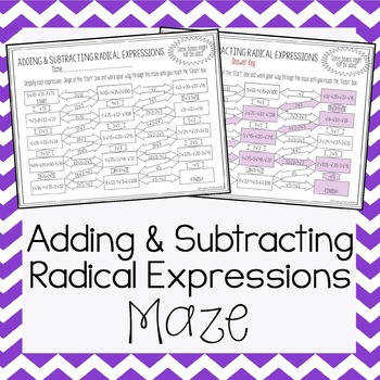 Operations with Radical Expressions Maze Adding & Subtracting