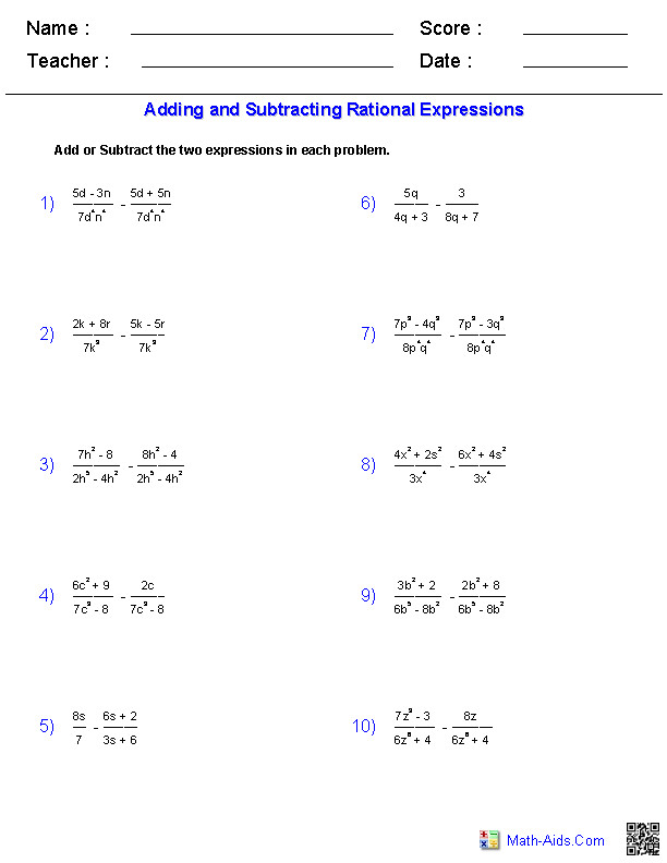 Number Names Worksheets adding and subtracting square roots