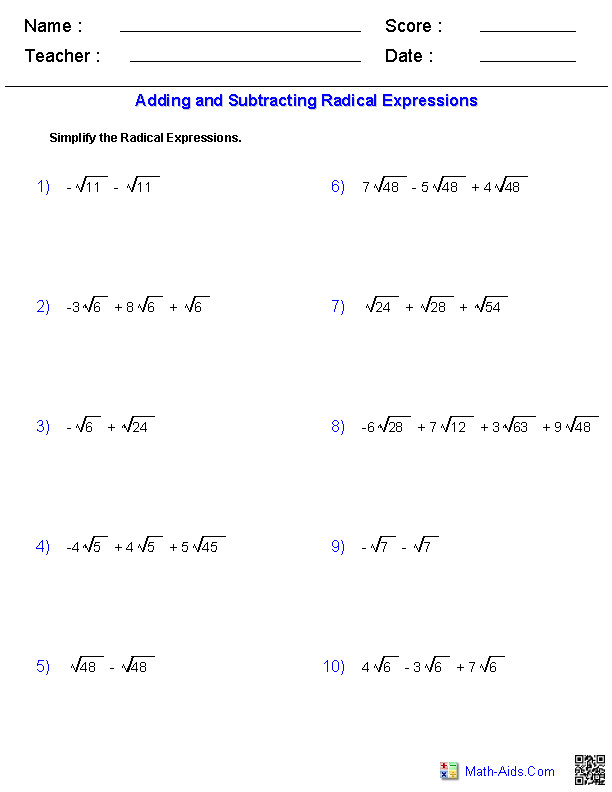 Adding and Subtracting Radicals Worksheet