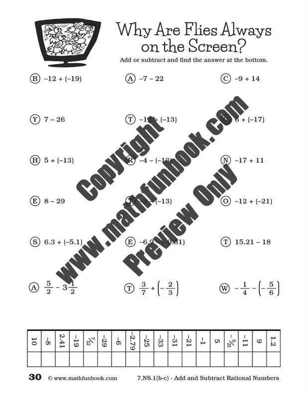 Adding and Subtracting Rational Numbers Worksheet ...