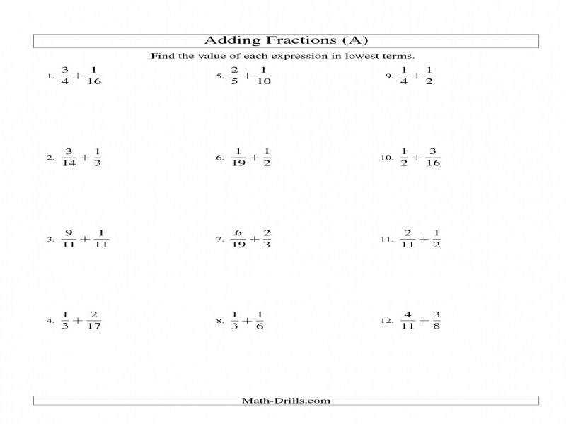 Adding Fractions With Unlike Denominators A