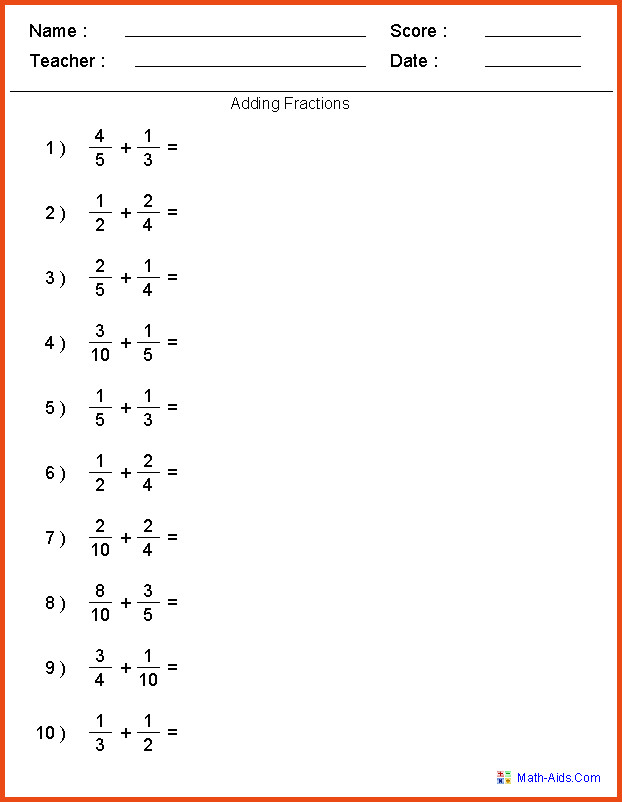 Adding Fractions With Unlike Denominators Worksheetding Two Fractions