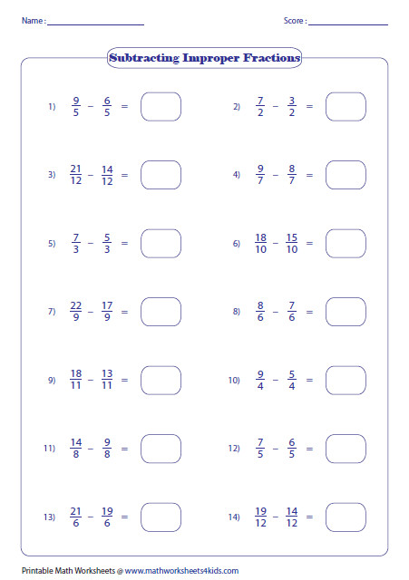 Fraction subtraction worksheets are based on subtracting mixed numbers proper and improper fractions with like or unlike denominators and more
