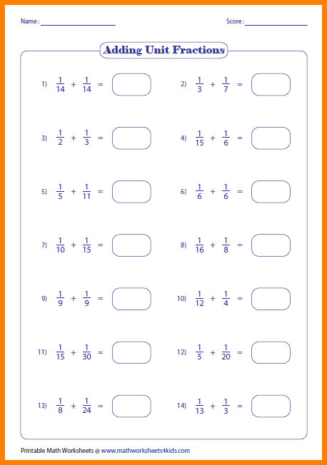 7 adding fractions worksheets