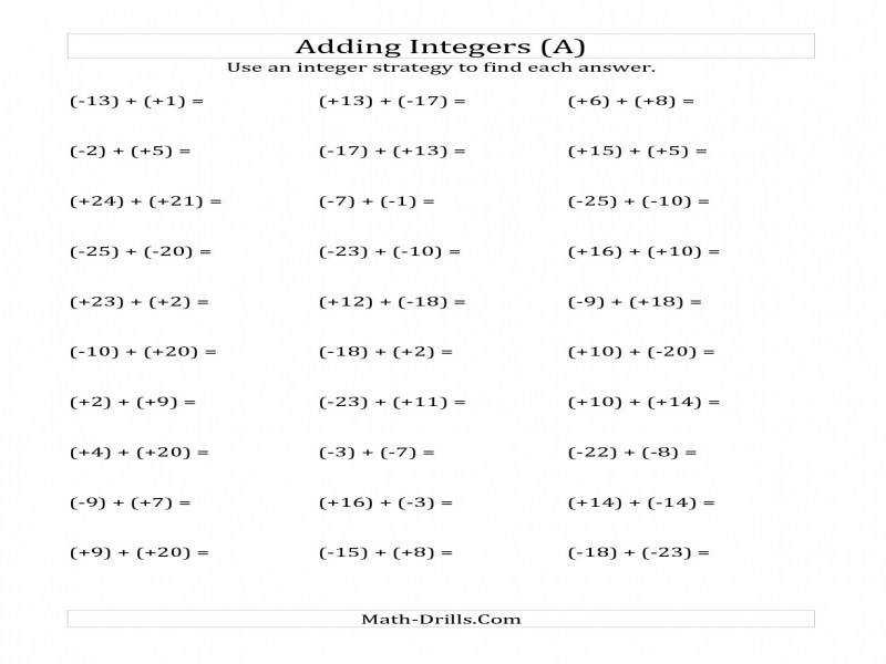 Adding And Subtracting Rational Numbers Worksheet Guillermotull