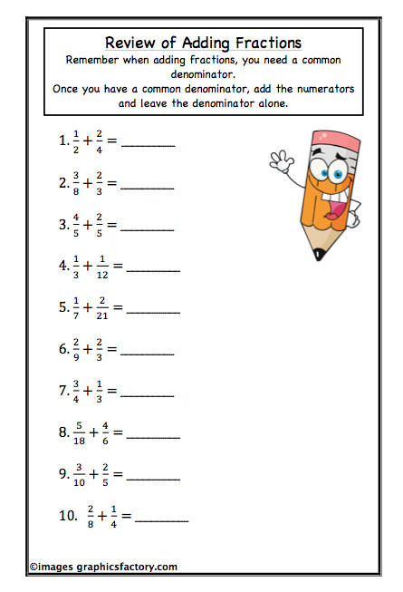Adding Mixed Numbers Worksheet 5Th Grade
