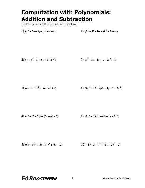 putation with Polynomials Addition and Subtraction