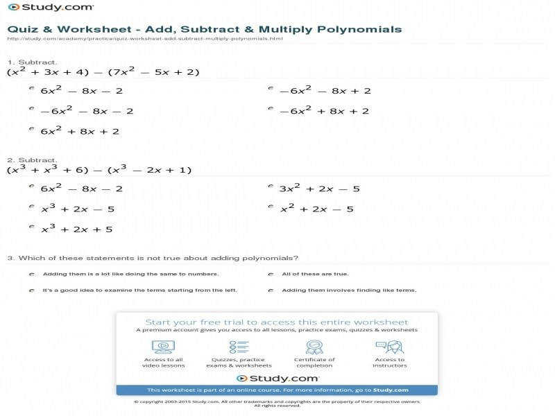 Quiz & Worksheet – Add Subtract & Multiply Polynomials