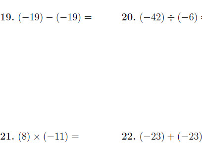 Operations with positive and negative numbers worksheet with answers