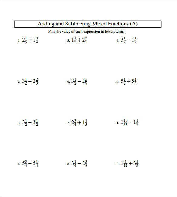 15 Adding And Subtracting Fractions Worksheets Free Pdf