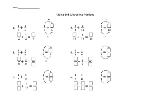 Adding and Subtracting Fractions Worksheet by dirin Teaching Resources Tes