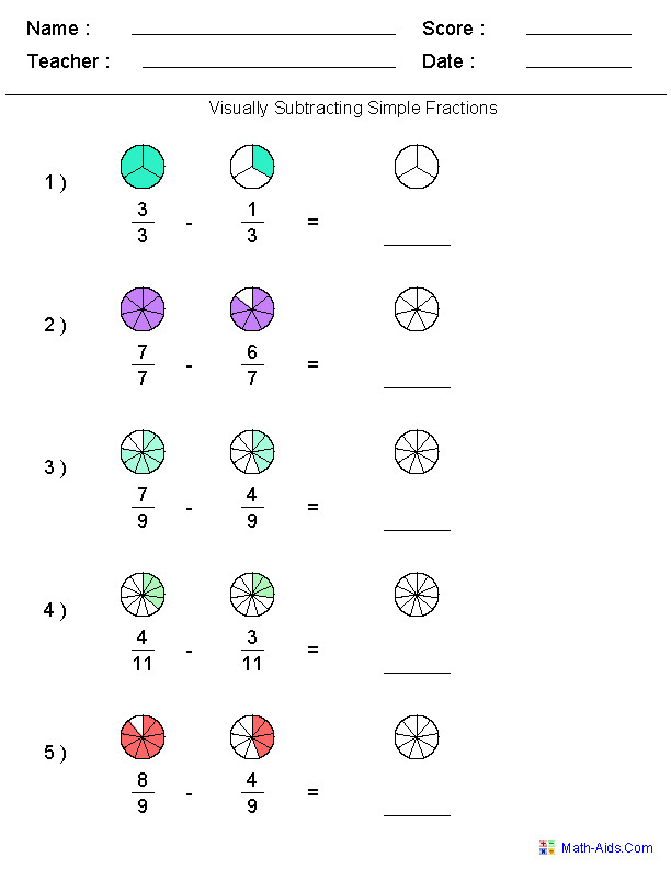Visually Subtracting Fractions Worksheets Free Math WorksheetsWorksheets For TeachersMath Fractions WorksheetsAdding And Subtracting