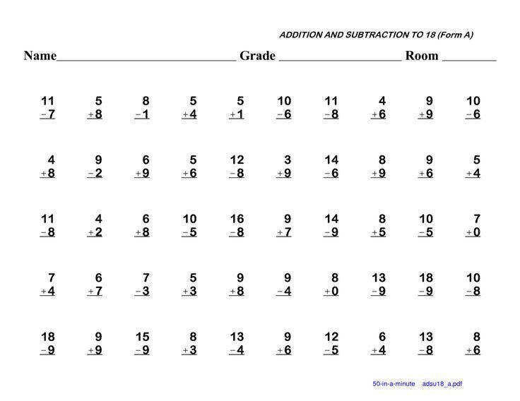 Basic Addition Subtraction Multiplication And Division Worksheets