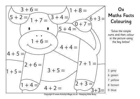 Ox Maths Facts Colouring Page