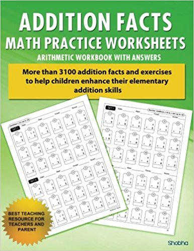 1 Addition Facts Math Practice Worksheet Arithmetic Workbook With Answers Daily Practice guide for elementary students Elementary Addition Series