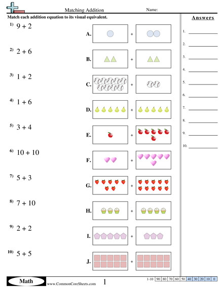 Matching Addition worksheet Matching Addition worksheet