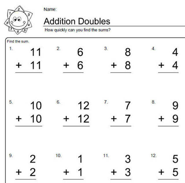 Addition Worksheets for Doubles Worksheet 8 of 10