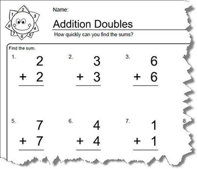 Addition Worksheets for Doubles Worksheet 1 of 10
