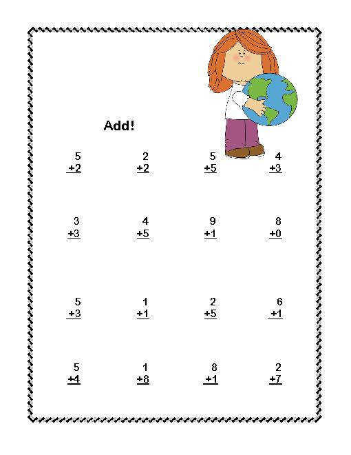 Addition subtraction and addition worksheets for first grade Kindergarten Math Worksheets mon Core
