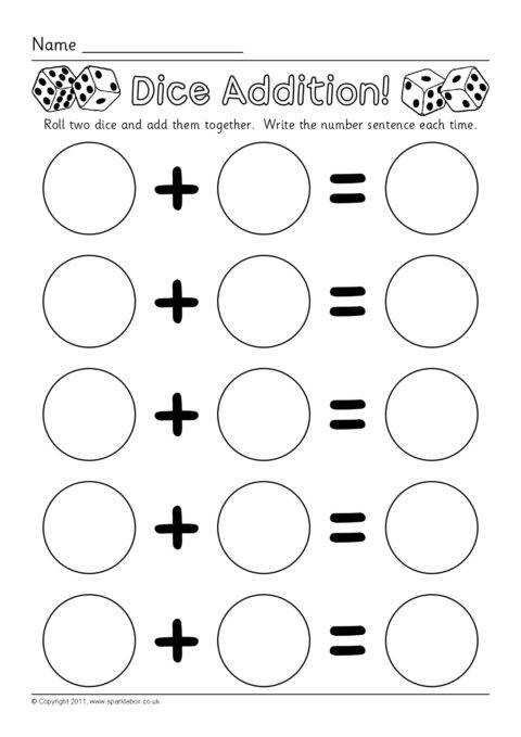 View Preview Dice Addition Worksheets