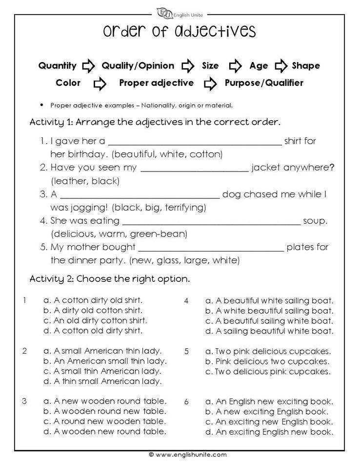 The order of adjectives worksheet focuses on sorting a series of adjectives in a sentence based