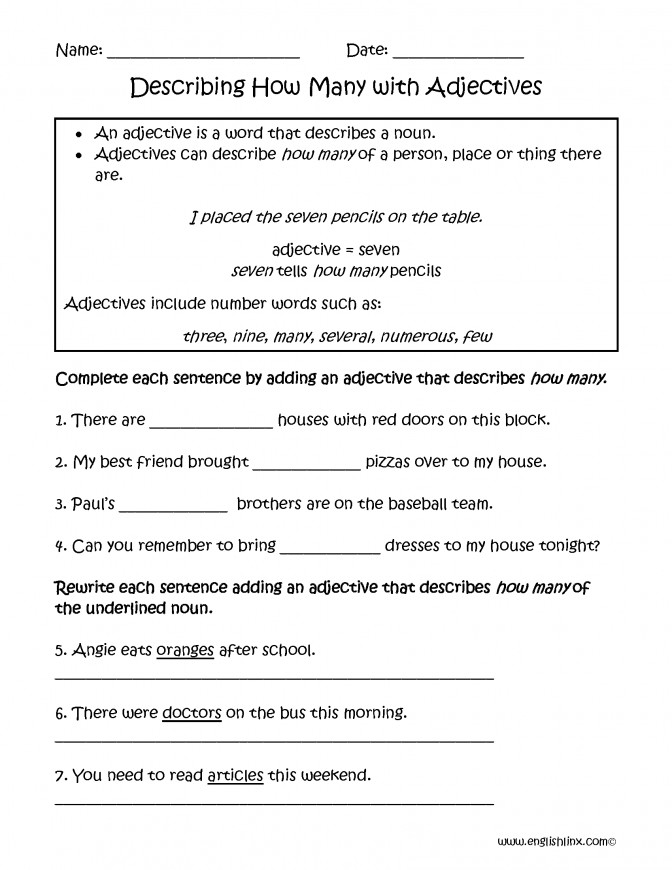 Describing How Many Adjectives Worksheets Englishlinx Board E6f6520ab f6d73d9b3 Adjective Worksheets For Kindergarten Worksheet Medium