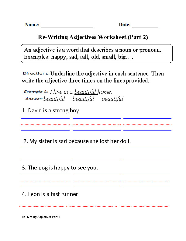 Adjectives Worksheet Part 2