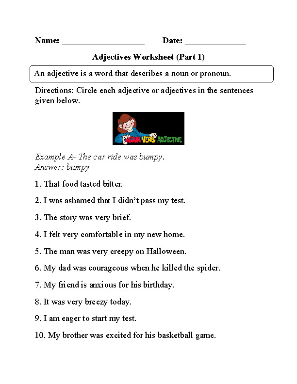 Circling Adjectives Worksheet Part 1