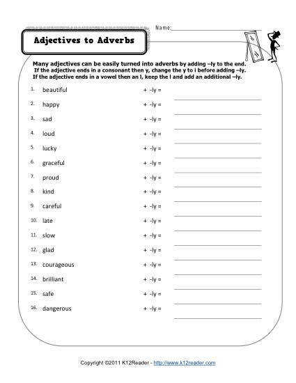 Adjectives to Adverbs Free Printable Worksheet Practice Lesson