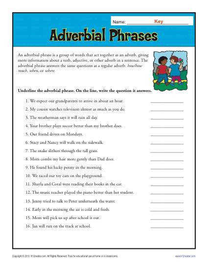 Adverbial Phrases Worksheet Activity